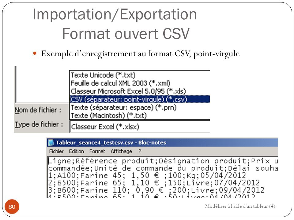 Importation/Exportation Format ouvert CSV Exemple d'enregistrement au format CSV, point-virgule Modéliser à l aide d un tableur (4) 80