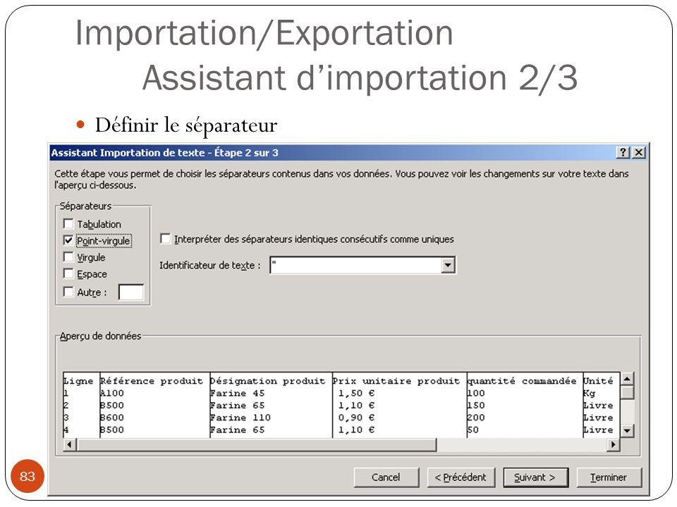 Importation/Exportation Assistant d'importation 2/3 Définir le séparateur Modéliser à l aide d un tableur (4) 83