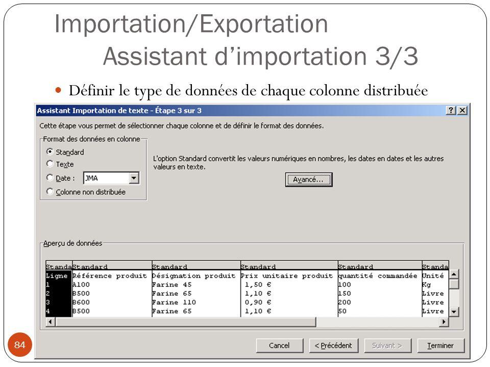 Importation/Exportation Assistant d'importation 3/3 Définir le type de données de chaque colonne distribuée Modéliser à l aide d un tableur (4) 84