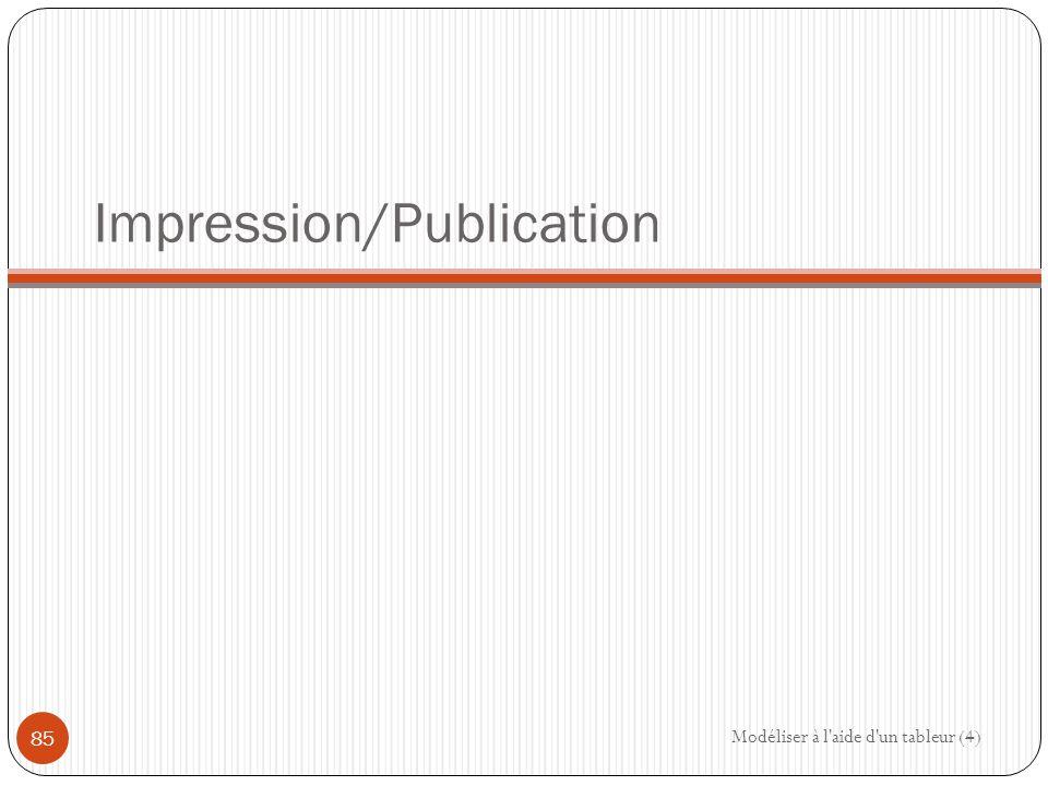 Impression/Publication Modéliser à l aide d un tableur (4) 85