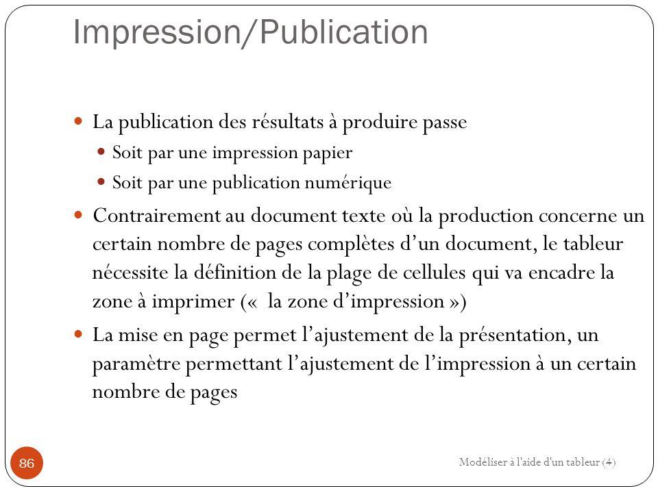 Impression/Publication La publication des résultats à produire passe Soit par une impression papier Soit par une publication numérique Contrairement au document texte où la production concerne un certain nombre de pages complètes d'un document, le tableur nécessite la définition de la plage de cellules qui va encadre la zone à imprimer (« la zone d'impression ») La mise en page permet l'ajustement de la présentation, un paramètre permettant l'ajustement de l'impression à un certain nombre de pages Modéliser à l aide d un tableur (4) 86