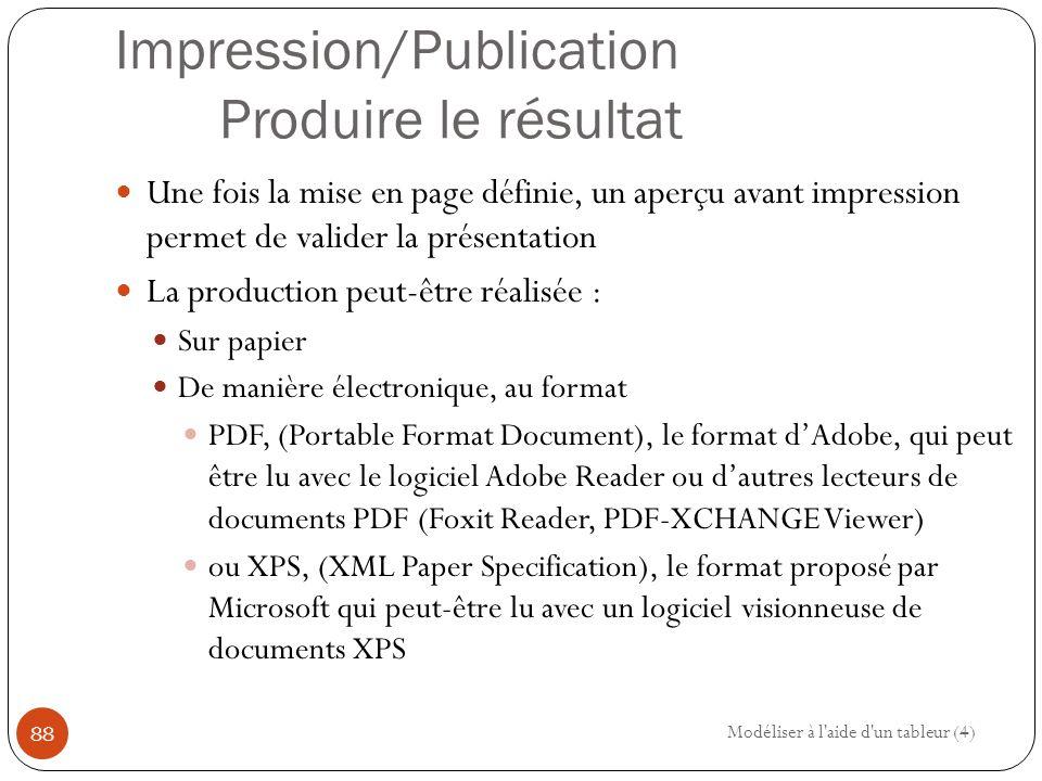 Impression/Publication Produire le résultat Une fois la mise en page définie, un aperçu avant impression permet de valider la présentation La production peut-être réalisée : Sur papier De manière électronique, au format PDF, (Portable Format Document), le format d'Adobe, qui peut être lu avec le logiciel Adobe Reader ou d'autres lecteurs de documents PDF (Foxit Reader, PDF-XCHANGE Viewer) ou XPS, (XML Paper Specification), le format proposé par Microsoft qui peut-être lu avec un logiciel visionneuse de documents XPS Modéliser à l aide d un tableur (4) 88