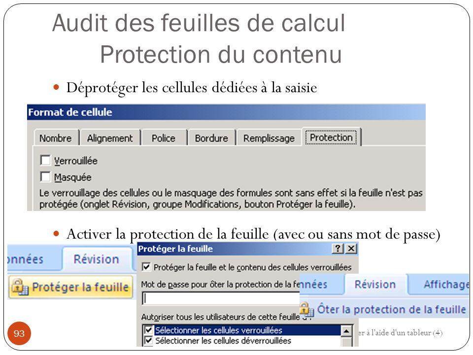 Audit des feuilles de calcul Protection du contenu Déprotéger les cellules dédiées à la saisie Activer la protection de la feuille (avec ou sans mot de passe) Modéliser à l aide d un tableur (4) 93