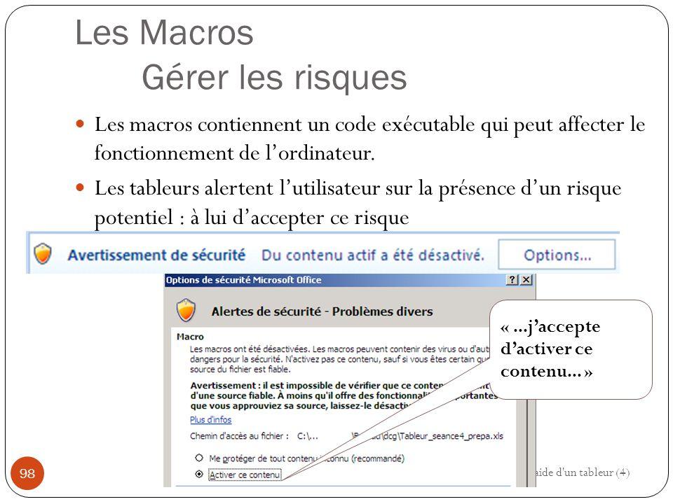 Les Macros Gérer les risques Les macros contiennent un code exécutable qui peut affecter le fonctionnement de l'ordinateur.