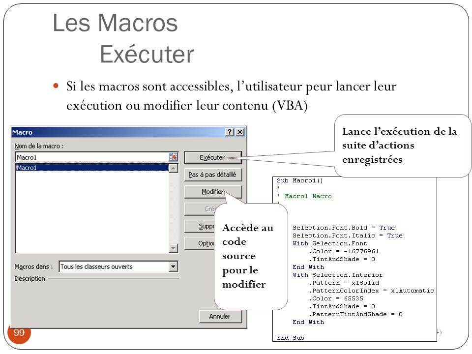 Les Macros Exécuter Si les macros sont accessibles, l'utilisateur peur lancer leur exécution ou modifier leur contenu (VBA) Modéliser à l aide d un tableur (4) 99 Lance l'exécution de la suite d'actions enregistrées Accède au code source pour le modifier