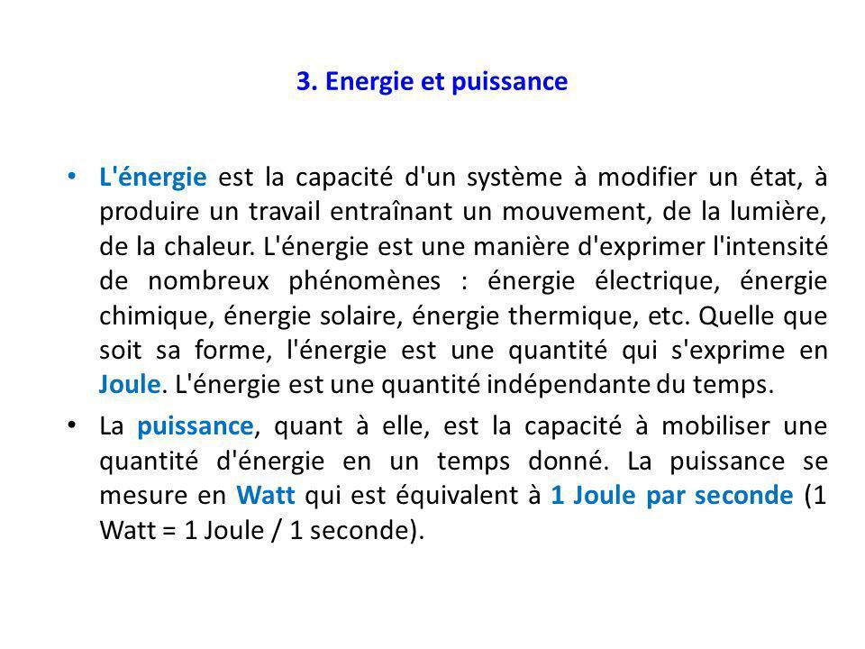 3. Energie et puissance L'énergie est la capacité d'un système à modifier un état, à produire un travail entraînant un mouvement, de la lumière, de la