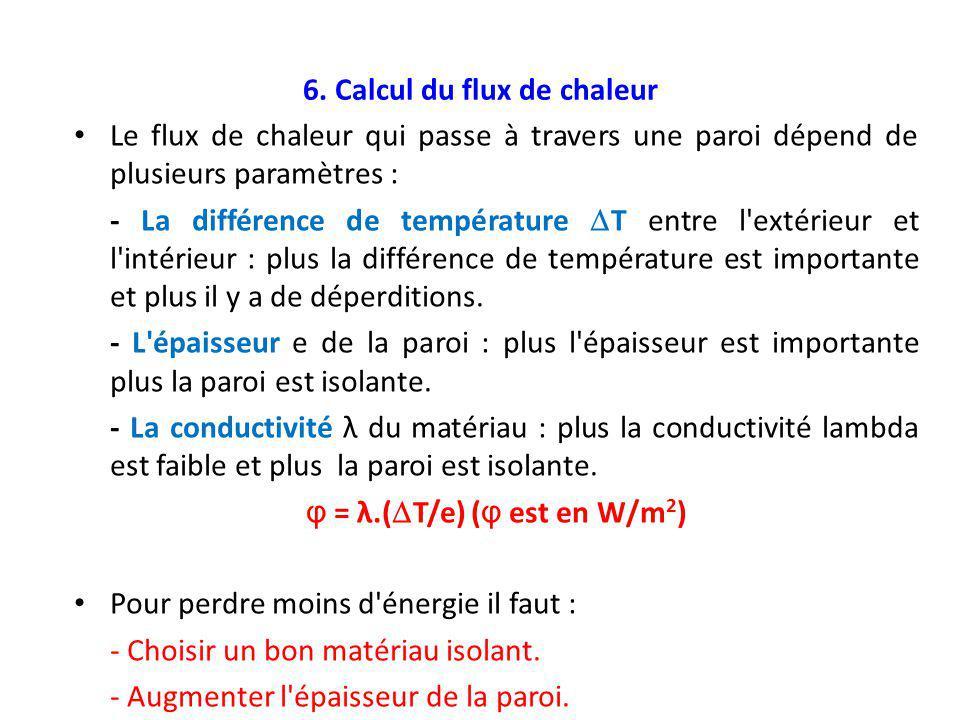 6. Calcul du flux de chaleur Le flux de chaleur qui passe à travers une paroi dépend de plusieurs paramètres : - La différence de température  T entr