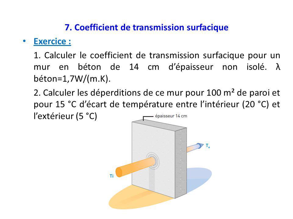 7. Coefficient de transmission surfacique Exercice : 1. Calculer le coefficient de transmission surfacique pour un mur en béton de 14 cm d'épaisseur n