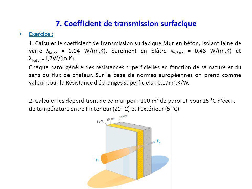 7. Coefficient de transmission surfacique Exercice : 1. Calculer le coefficient de transmission surfacique Mur en béton, isolant laine de verre λ lain