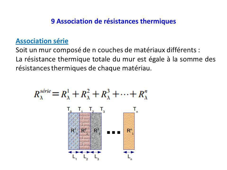 9 Association de résistances thermiques Association série Soit un mur composé de n couches de matériaux différents : La résistance thermique totale du mur est égale à la somme des résistances thermiques de chaque matériau.