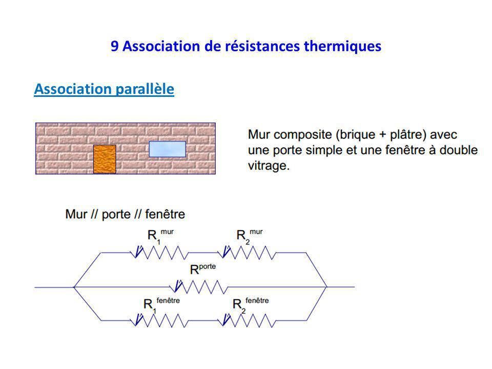 9 Association de résistances thermiques Association parallèle