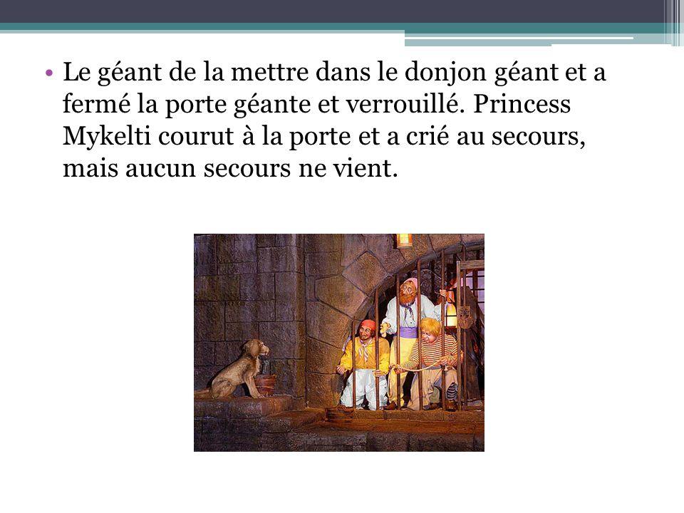 Le géant de la mettre dans le donjon géant et a fermé la porte géante et verrouillé. Princess Mykelti courut à la porte et a crié au secours, mais auc