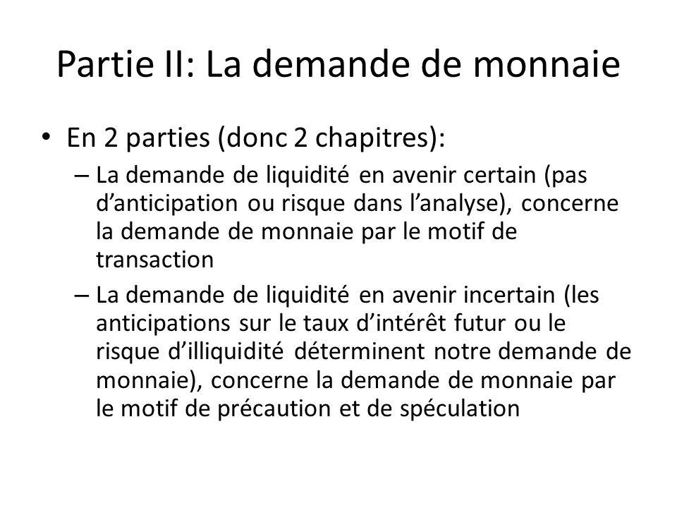 Partie II: La demande de monnaie En 2 parties (donc 2 chapitres): – La demande de liquidité en avenir certain (pas d'anticipation ou risque dans l'ana