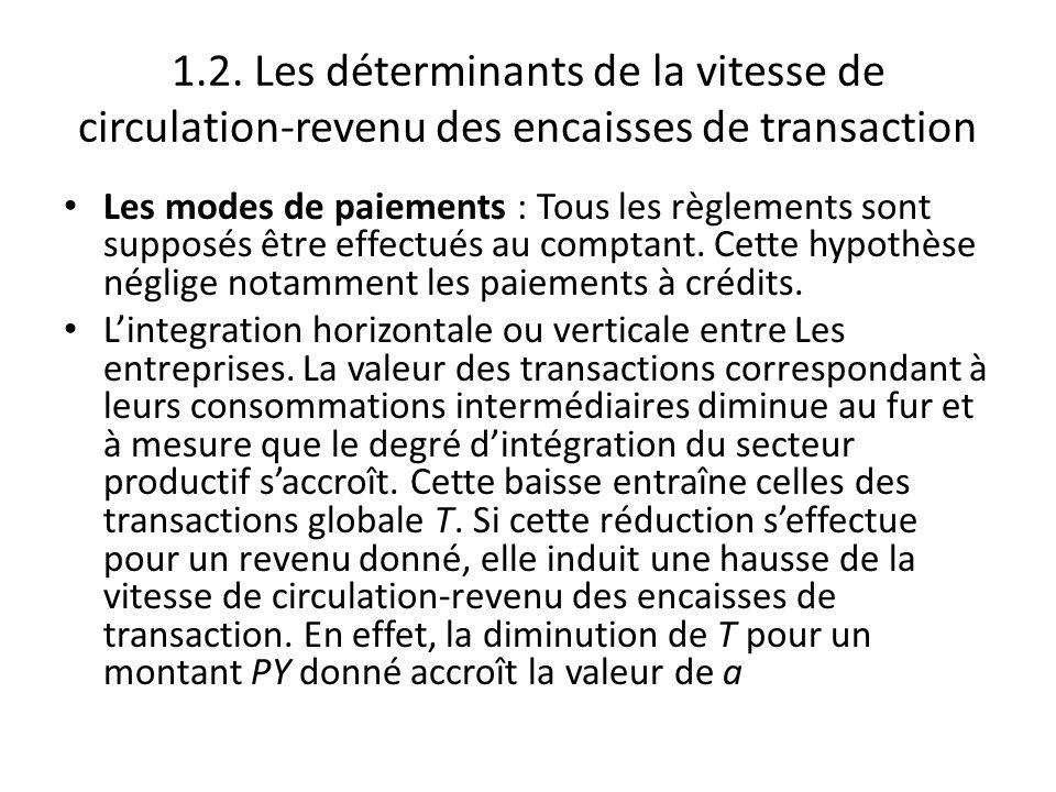 1.2. Les déterminants de la vitesse de circulation-revenu des encaisses de transaction Les modes de paiements : Tous les règlements sont supposés être