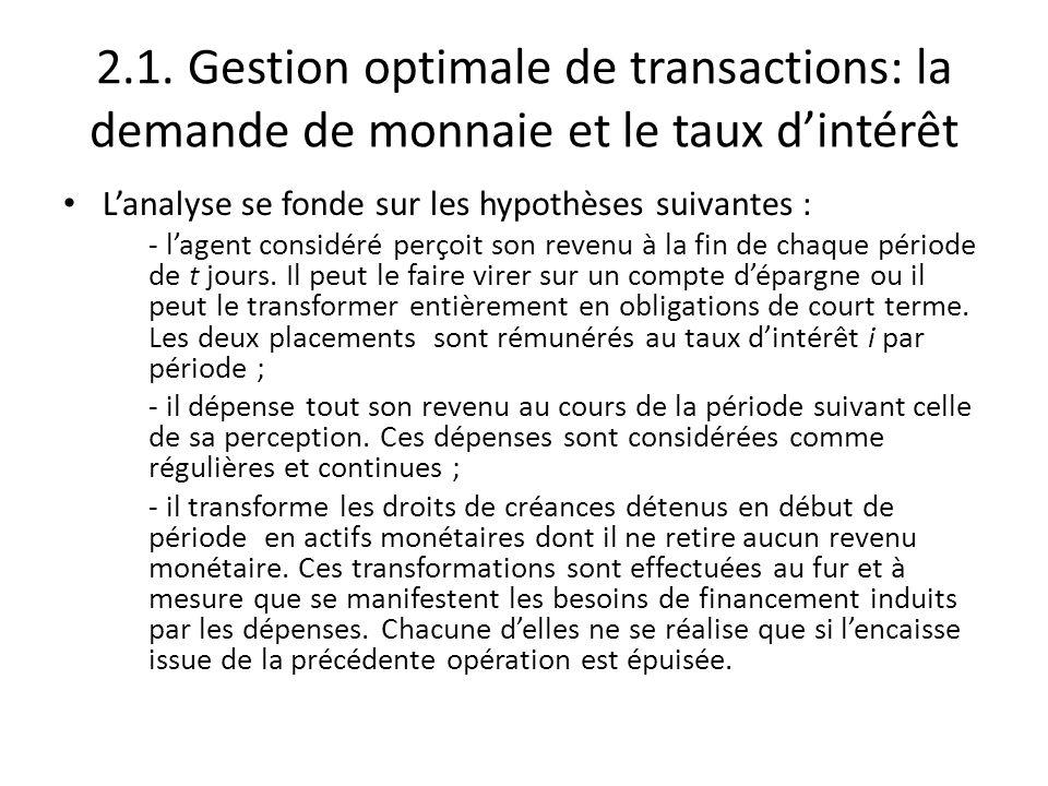 2.1. Gestion optimale de transactions: la demande de monnaie et le taux d'intérêt L'analyse se fonde sur les hypothèses suivantes : - l'agent considér
