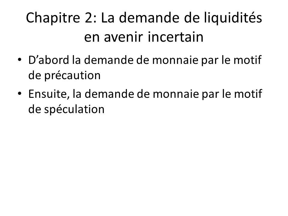 Chapitre 2: La demande de liquidités en avenir incertain D'abord la demande de monnaie par le motif de précaution Ensuite, la demande de monnaie par l