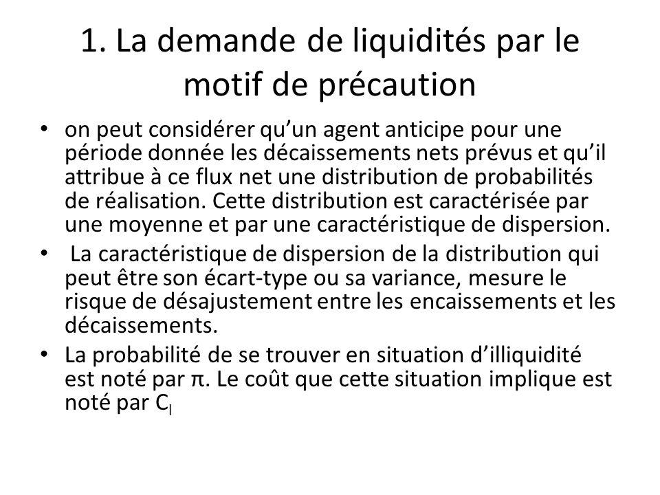 1. La demande de liquidités par le motif de précaution on peut considérer qu'un agent anticipe pour une période donnée les décaissements nets prévus e