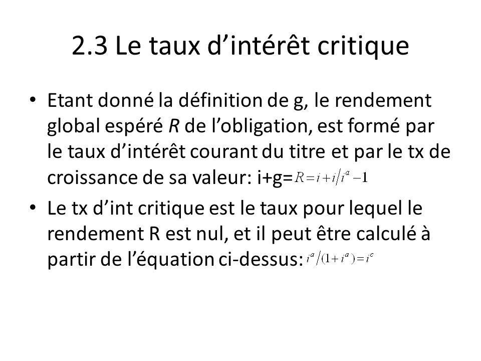 2.3 Le taux d'intérêt critique Etant donné la définition de g, le rendement global espéré R de l'obligation, est formé par le taux d'intérêt courant d