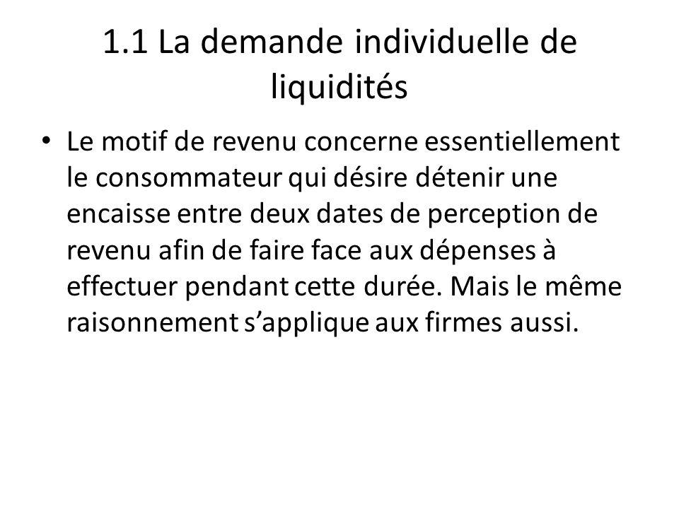 1.1 La demande individuelle de liquidités Le motif de revenu concerne essentiellement le consommateur qui désire détenir une encaisse entre deux dates