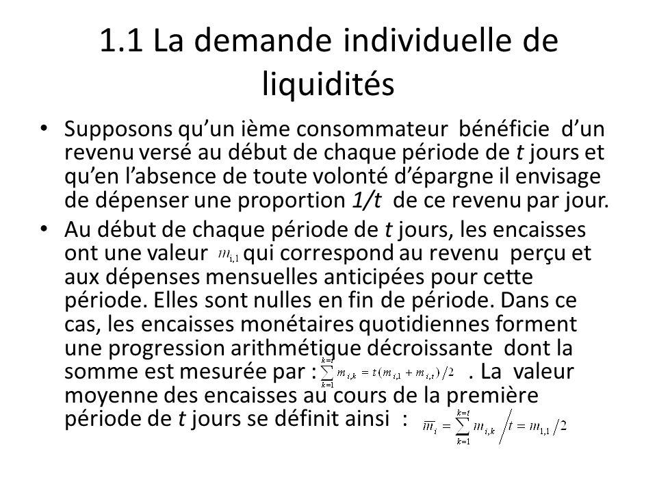 1.1 La demande individuelle de liquidités Supposons qu'un ième consommateur bénéficie d'un revenu versé au début de chaque période de t jours et qu'en