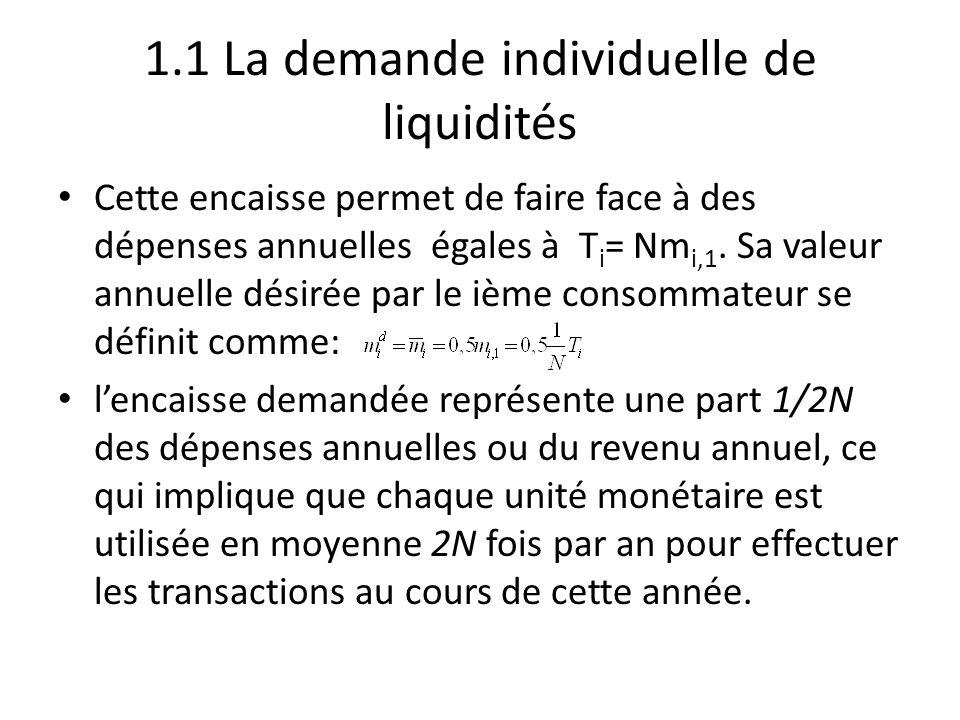 1.1 La demande individuelle de liquidités Cette encaisse permet de faire face à des dépenses annuelles égales à T i = Nm i,1. Sa valeur annuelle désir
