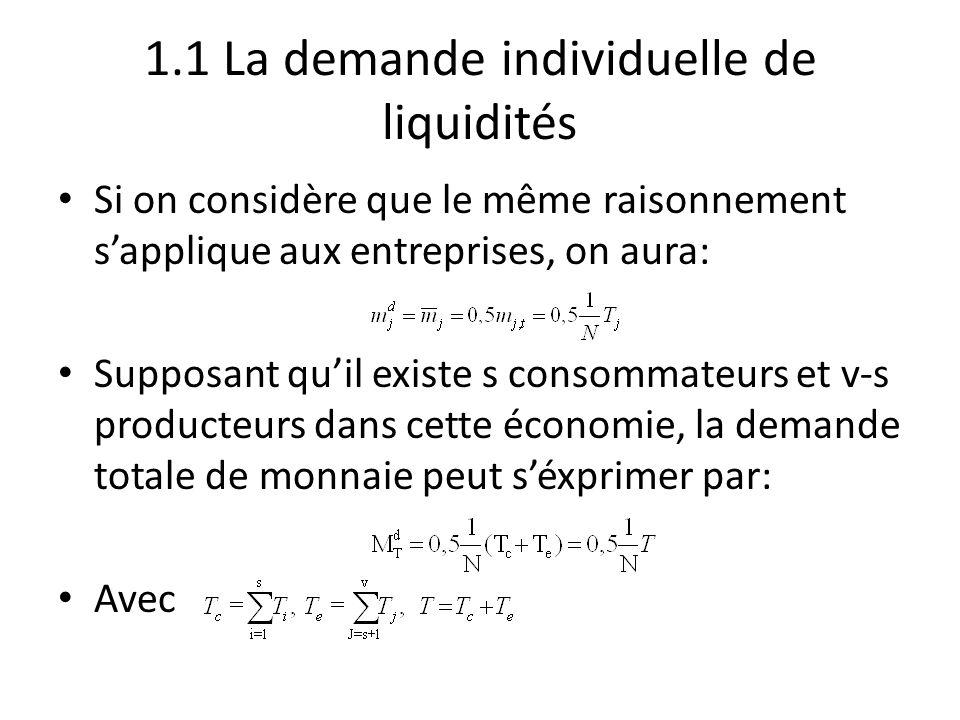 1.1 La demande individuelle de liquidités Si on considère que le même raisonnement s'applique aux entreprises, on aura: Supposant qu'il existe s conso