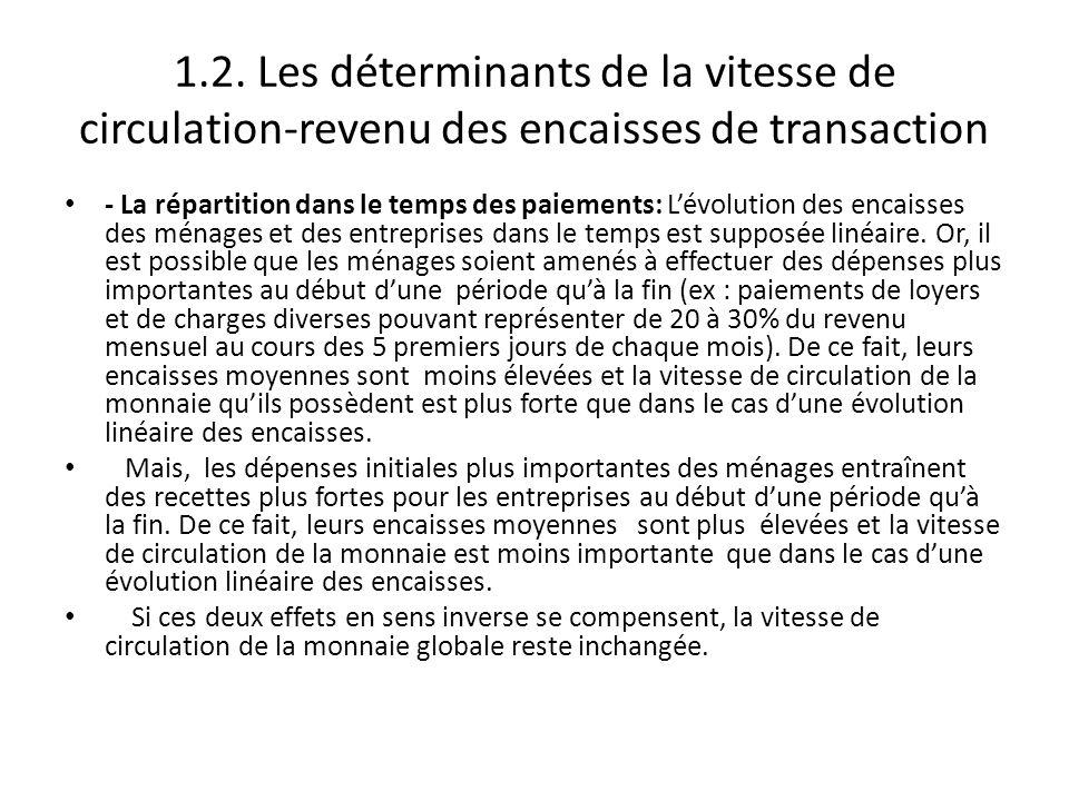 1.2. Les déterminants de la vitesse de circulation-revenu des encaisses de transaction - La répartition dans le temps des paiements: L'évolution des e