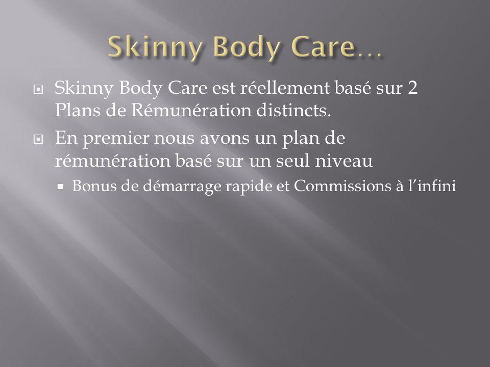 Skinny Body Care est réellement basé sur 2 Plans de Rémunération distincts.  En premier nous avons un plan de rémunération basé sur un seul niveau