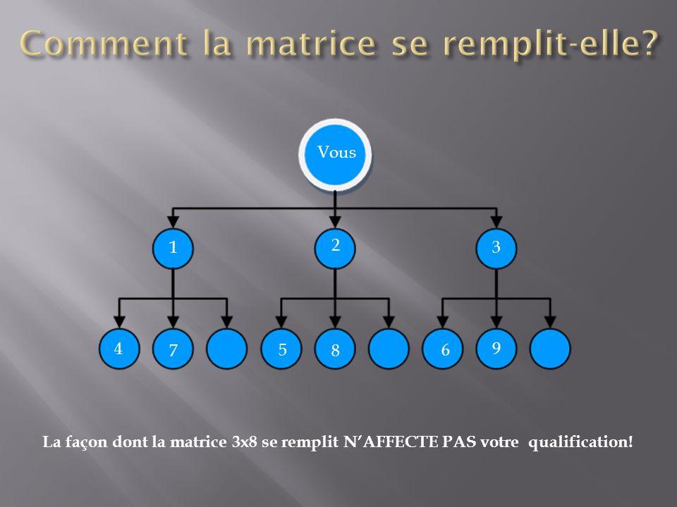 La façon dont la matrice 3x8 se remplit N'AFFECTE PAS votre qualification! Vous 1 2 3 4 56 78 9