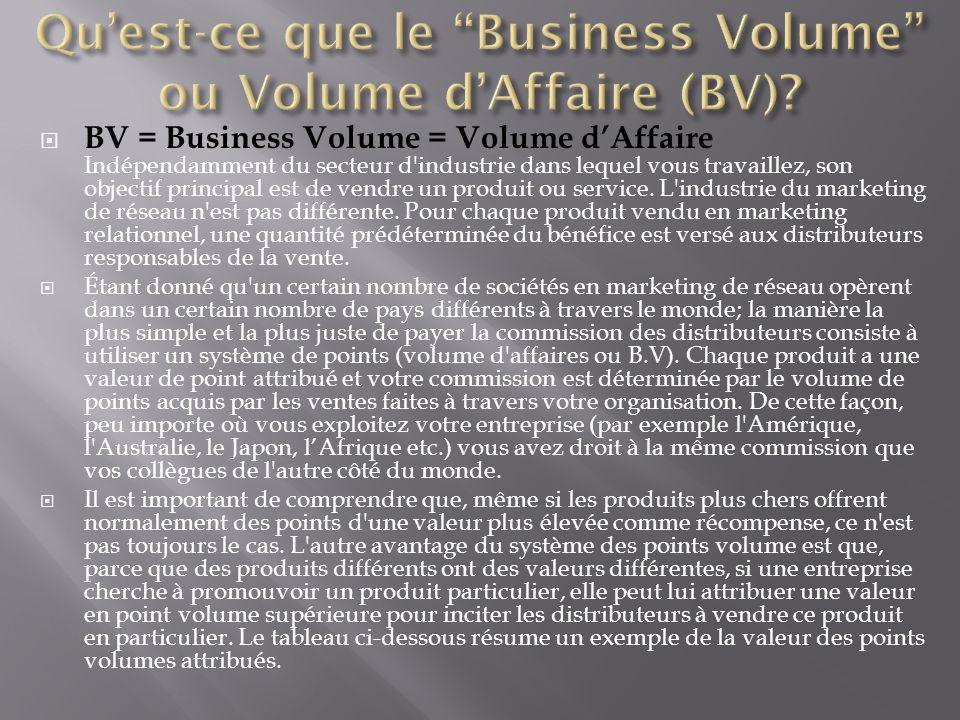  BV = Business Volume = Volume d'Affaire Indépendamment du secteur d'industrie dans lequel vous travaillez, son objectif principal est de vendre un p