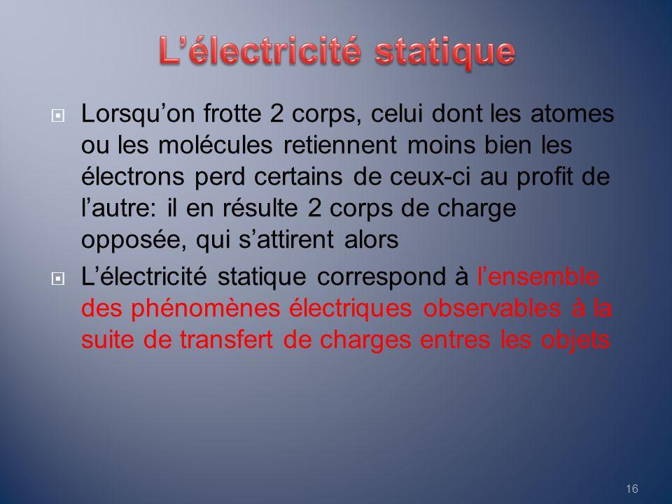  Lorsqu'on frotte 2 corps, celui dont les atomes ou les molécules retiennent moins bien les électrons perd certains de ceux-ci au profit de l'autre: