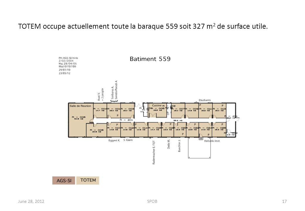 TOTEM occupe actuellement toute la baraque 559 soit 327 m 2 de surface utile. June 28, 2012SPOB17