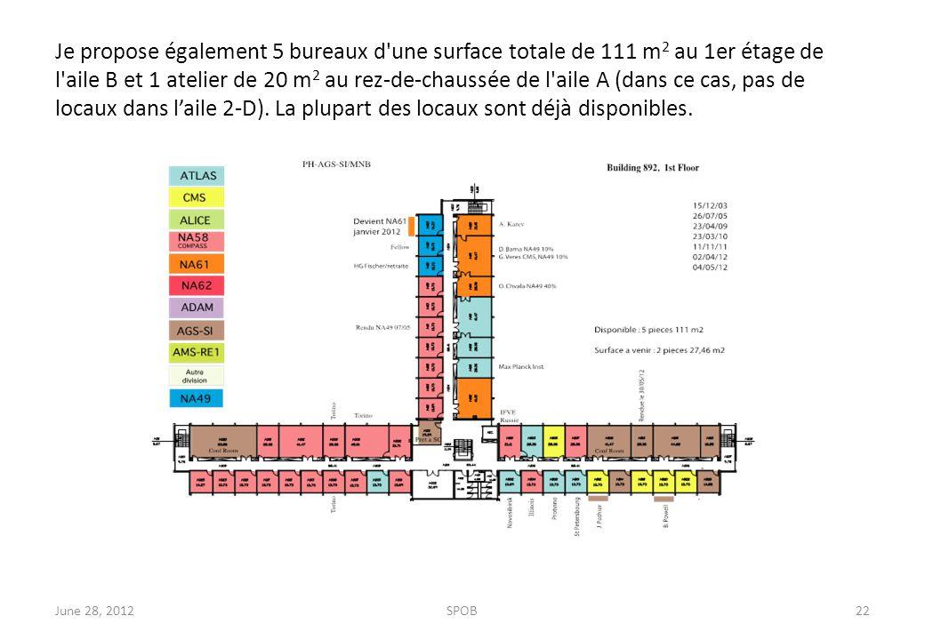 Je propose également 5 bureaux d une surface totale de 111 m 2 au 1er étage de l aile B et 1 atelier de 20 m 2 au rez-de-chaussée de l aile A (dans ce cas, pas de locaux dans l'aile 2-D).