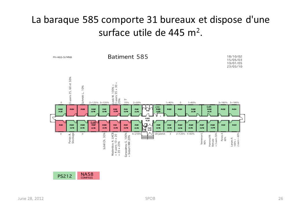La baraque 585 comporte 31 bureaux et dispose d'une surface utile de 445 m 2. June 28, 2012SPOB26
