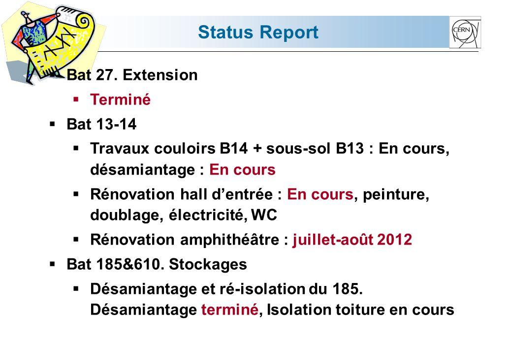 Status Report  Bat 27. Extension  Terminé  Bat 13-14  Travaux couloirs B14 + sous-sol B13 : En cours, désamiantage : En cours  Rénovation hall d'
