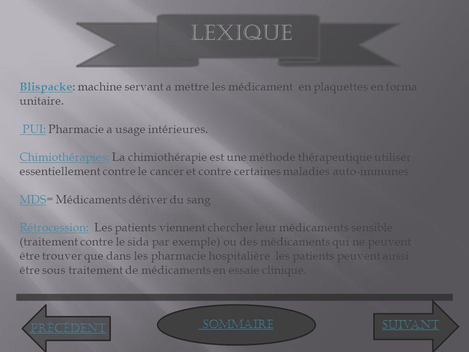 Sommaire Lexique Blispacke Blispacke : machine servant a mettre les médicament en plaquettes en forma unitaire.
