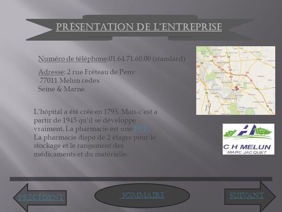 Présentation de l'entreprise Numéro de téléphone:01.64.71.60.00 (standard) Adresse: 2 rue Fréteau de Peny 77011 Melun cedex Seine & Marne L'hôpital a été crée en 1793.