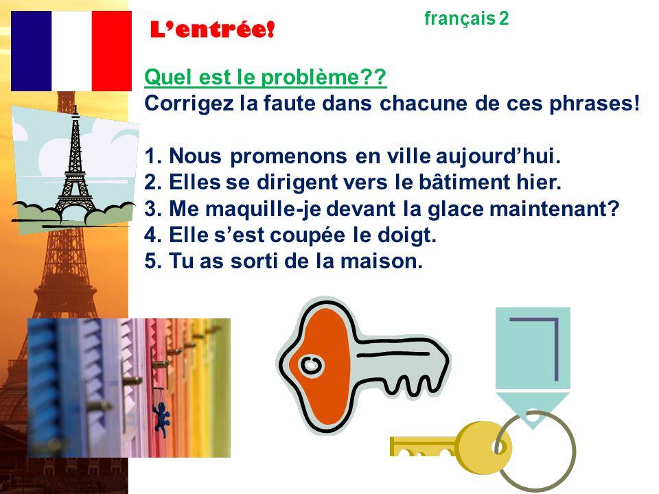 L'entrée.français 2 Quel est le problème?. Corrigez la faute dans chacune de ces phrases.