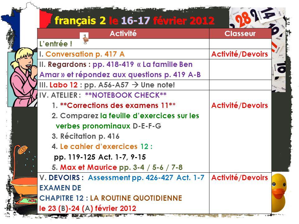 français 6AP le 16-17 février 2012