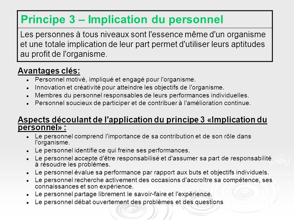 Avantages clés: Personnel motivé, impliqué et engagé pour l organisme.
