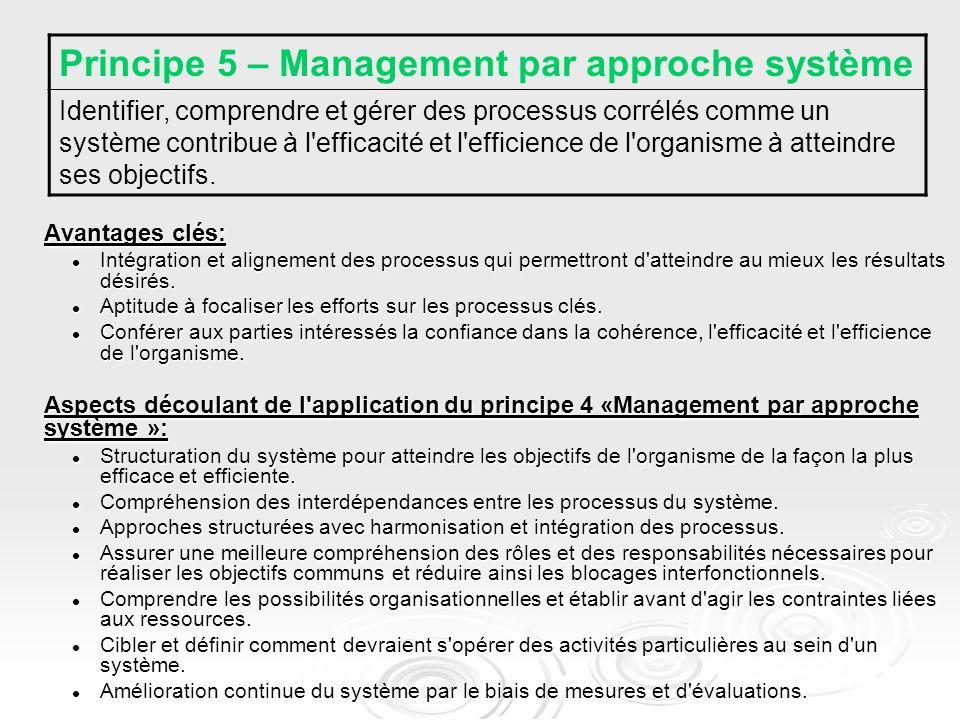 Avantages clés: Intégration et alignement des processus qui permettront d atteindre au mieux les résultats désirés.