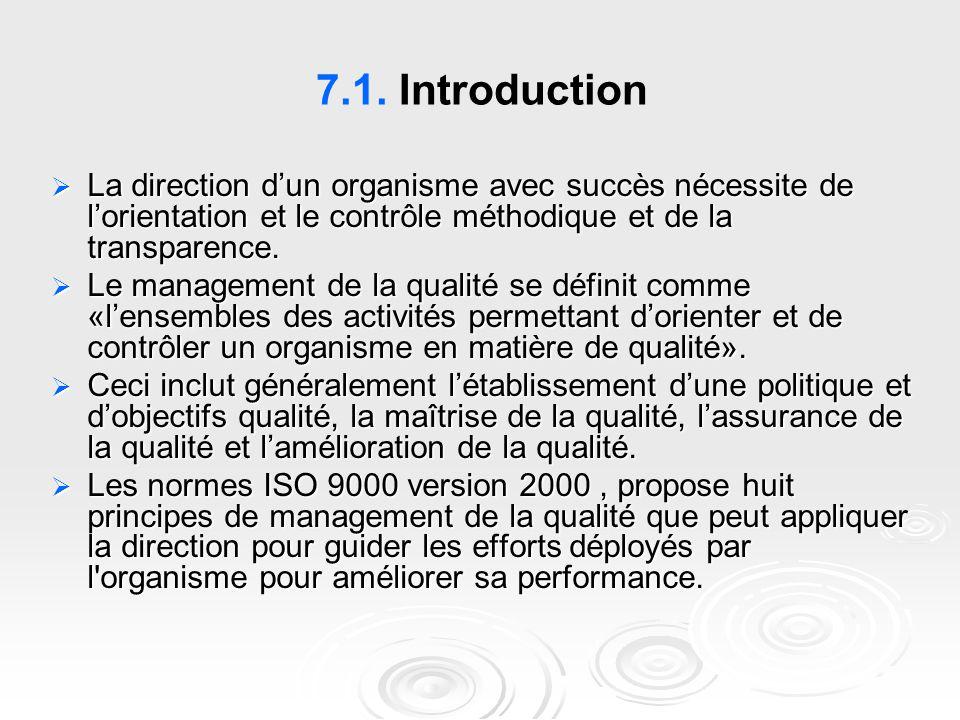 7.1. Introduction  La direction d'un organisme avec succès nécessite de l'orientation et le contrôle méthodique et de la transparence.  Le managemen