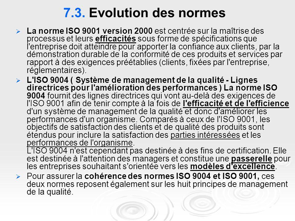 7.3. Evolution des normes  La norme ISO 9001 version 2000 est centrée sur la maîtrise des processus et leurs efficacités sous forme de spécifications