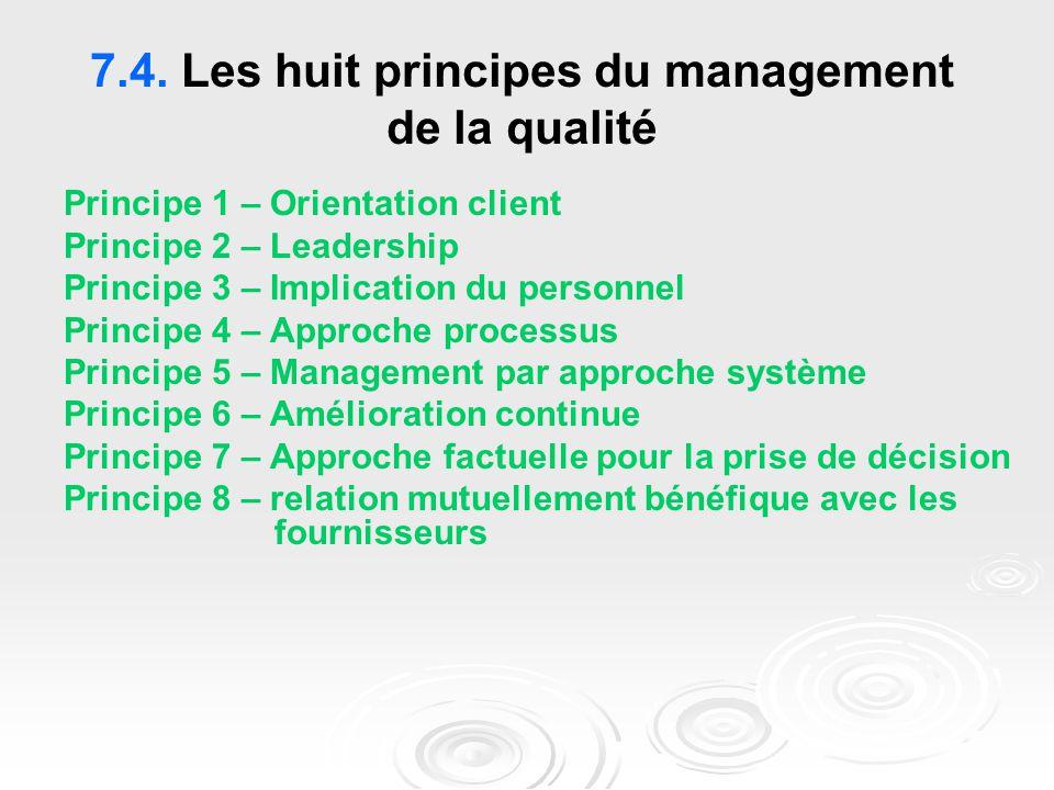 7.4. Les huit principes du management de la qualité Principe 1 – Orientation client Principe 2 – Leadership Principe 3 – Implication du personnel Prin