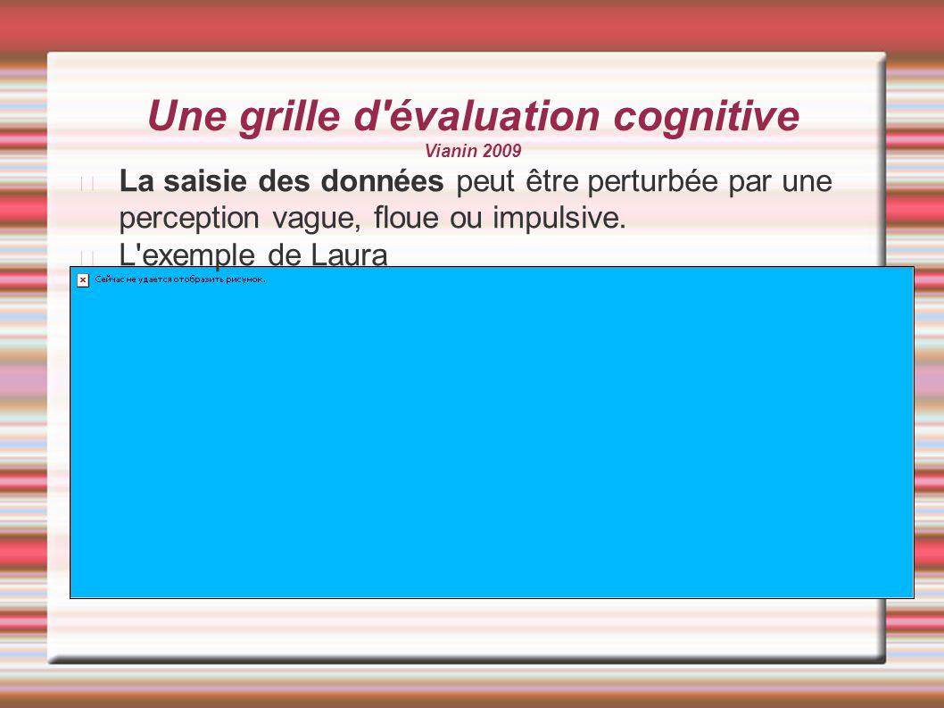 Une grille d'évaluation cognitive Vianin 2009 La saisie des données peut être perturbée par une perception vague, floue ou impulsive. L'exemple de Lau