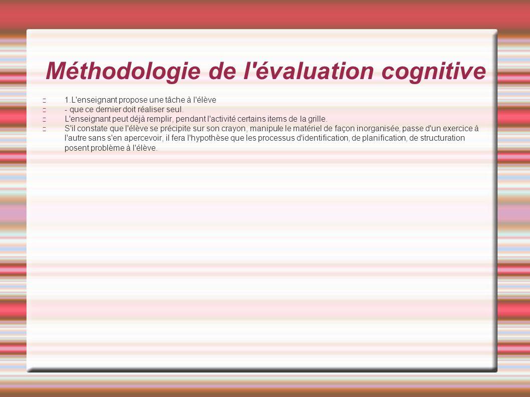 Méthodologie de l'évaluation cognitive 1.L'enseignant propose une tâche à l'élève - que ce dernier doit réaliser seul. L'enseignant peut déjà remplir,