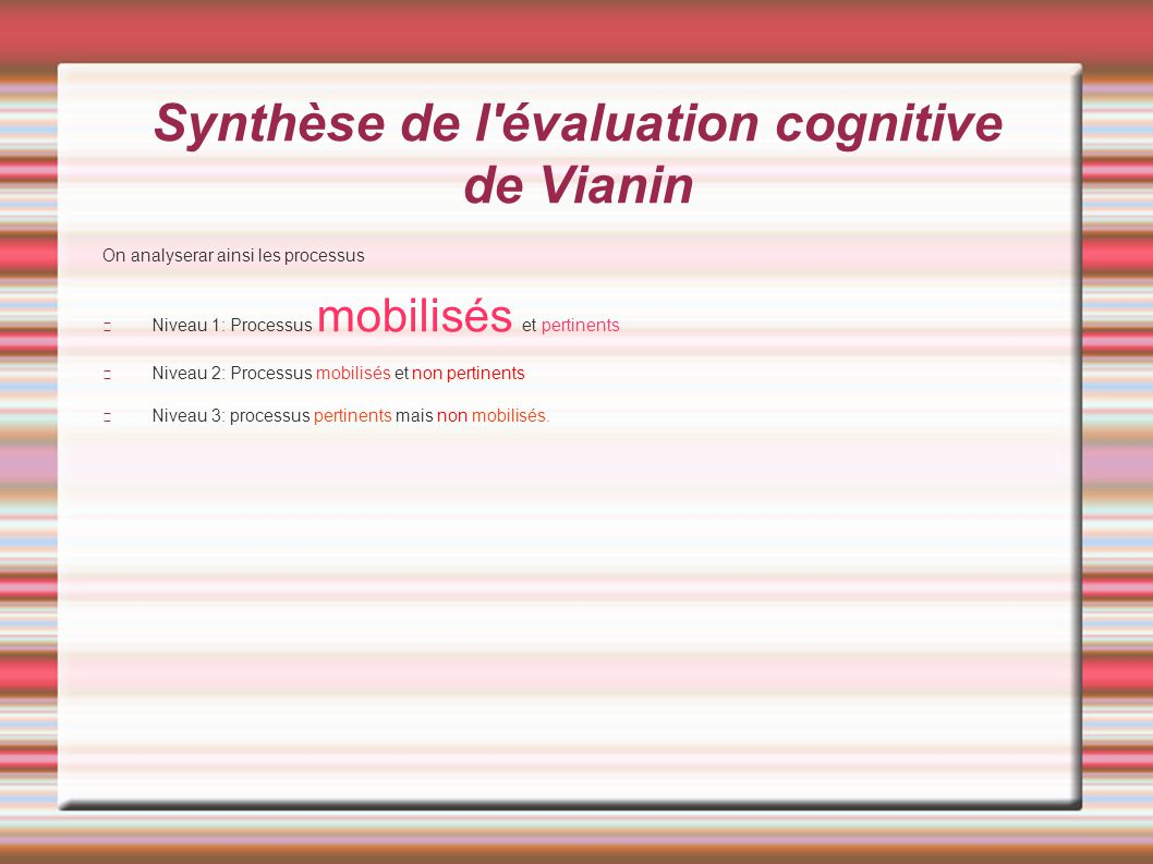 Synthèse de l'évaluation cognitive de Vianin On analyserar ainsi les processus Niveau 1: Processus mobilisés et pertinents Niveau 2: Processus mobilis