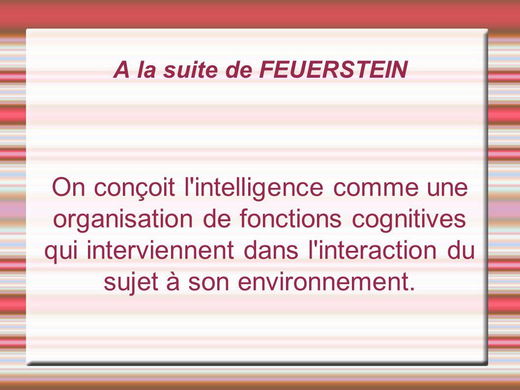 A la suite de FEUERSTEIN On conçoit l'intelligence comme une organisation de fonctions cognitives qui interviennent dans l'interaction du sujet à son