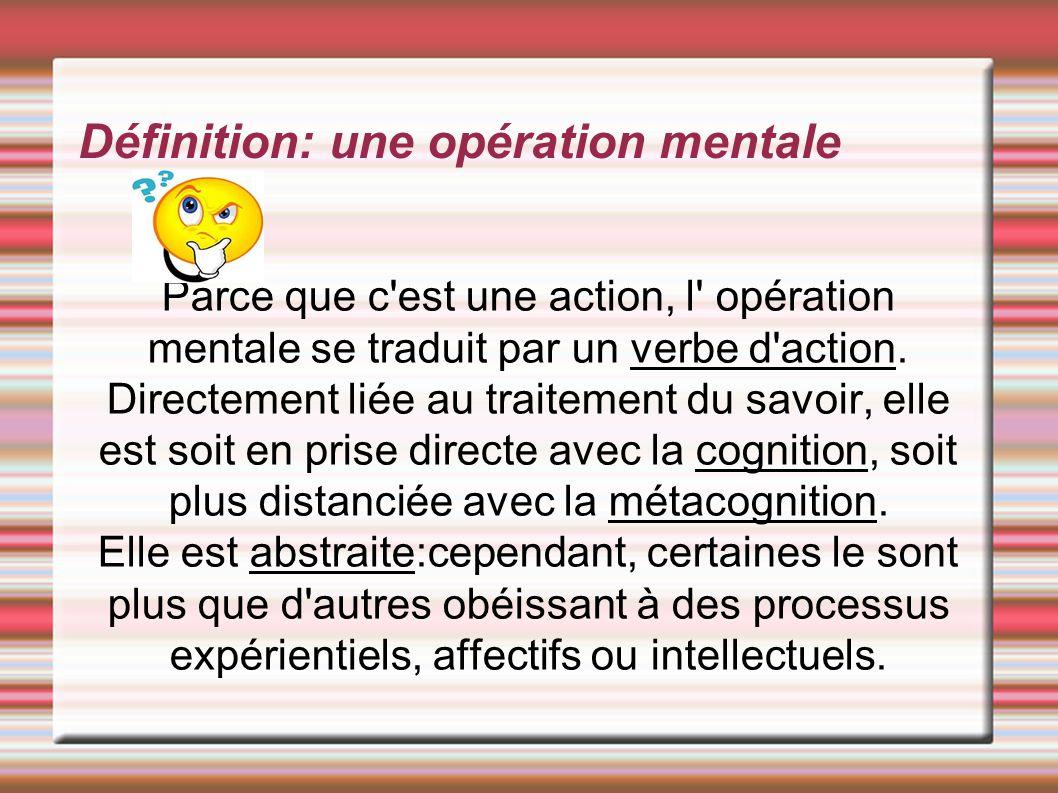 Définition: une opération mentale Parce que c'est une action, l' opération mentale se traduit par un verbe d'action. Directement liée au traitement du
