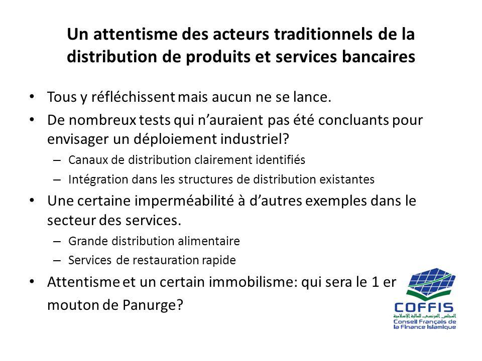 Un attentisme des acteurs traditionnels de la distribution de produits et services bancaires Tous y réfléchissent mais aucun ne se lance.